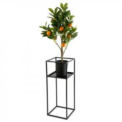 DekorStyle Stojan na květiny s policí 60 cm černý