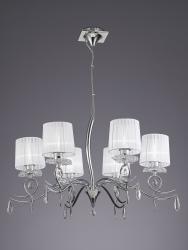 Mantra 5270 Louise, závěsné svítidlo, 6x13W LED E27, chrom, křišťál/stínítko z bílého textilu, prům. 87,8cm