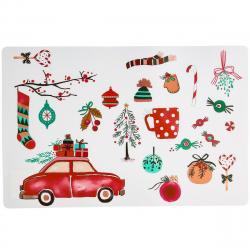 Altom Vánoční prostírání Auto bílá, 28 x 43 cm