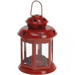 Lucerna na čajovou svíčku Tharsis červená, 14 cm