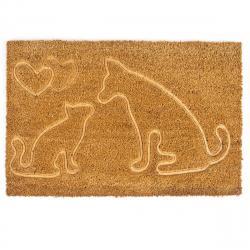 Trade Concept Kokosová rohožka Kočka a pes, 40 x 60 cm