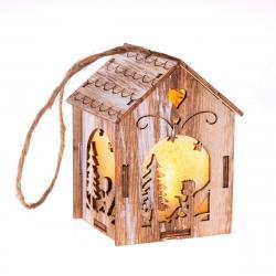 Závěsný dřevěný domeček s LED světlem Anděl, 5 x 8,2 cm