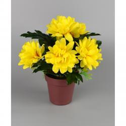 Umělá květina Chrysantéma v květináči 16 x 14 cm, žlutá