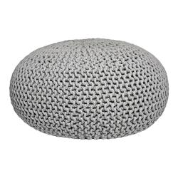Šedý pletený puf LABEL51 Knitted XL, ⌀ 70 cm