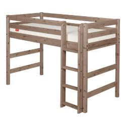 Hnědá dětská vyšší postel z borovicového dřeva Flexa Classic, 90x200cm