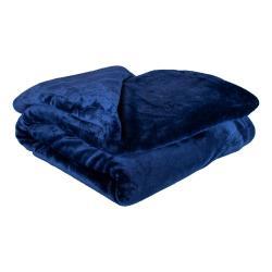 Tmavě modrá mikroplyšová deka My House Amber,200x220cm