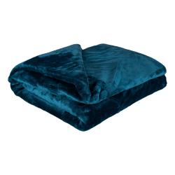 Petrolejově modrá mikroplyšová deka My House Amber,200x220cm