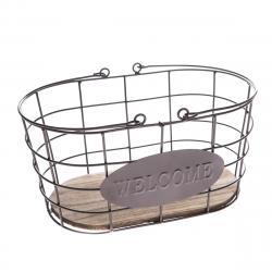 Kovový oválný košík Welcome, 30 x 15 x 18 cm