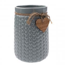 Keramická váza Heart, šedá, 12 x 17,5 x 16,5 cm