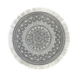 TAPIS Koberec květiny kulatý 90 cm - šedá