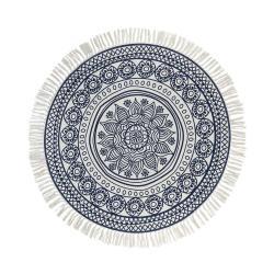 TAPIS Koberec květiny kulatý 90 cm - modrá/bílá