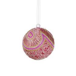 HANG ON Vánoční koule s perlami 8 cm - sv. růžová
