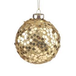 HANG ON Vánoční koule třpytivá 8 cm - zlatá