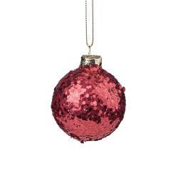HANG ON Vánoční koule se třpytkami 6 cm - červená