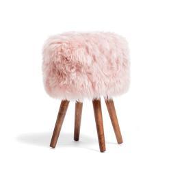 Stolička s růžovým sedákem z ovčí kožešiny Royal Dream, ⌀30cm
