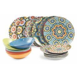 18dílná porcelánová sada talířů Villa d'Este Marrakech