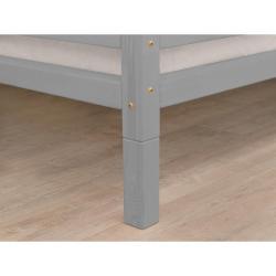 Sada 4 šedých prodloužených nohou ze smrkového dřeva k posteli Benlemi,výška10cm
