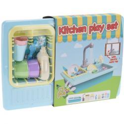 Dětský kuchyňský set s tekoucí vodou, sada 13 ks, modrá