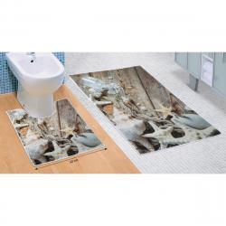 Bellatex Sada koupelnových předložek Mořské lastury 3D, 60 x 100 cm, 50 x 60 cm