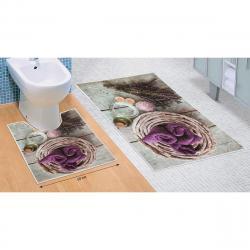 Bellatex Sada koupelnových předložek Levandule 3D, 60 x 100 cm, 50 x 60 cm