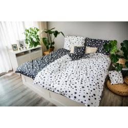Bílo-černé bavlněné povlečení Cotton House Double Dots,140x200cm