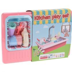 Dětský kuchyňský set s tekoucí vodou, sada 13 ks, růžová