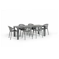 Šedý zahradní set nábytku se 6 židlemi Le Bonom Joanna Thor