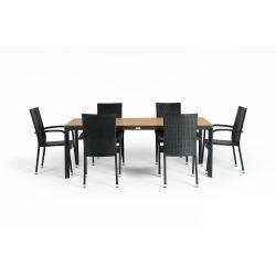 Šedý zahradní set nábytku se 6 židlemi Le Bonom Paris Thor Large