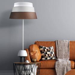 DUOLLA Stojací lampa Piramida, hnědá/šedá/bílá