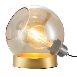 Nino Leuchten Stolní lampa Toula, Ø 20 cm, skleněná jantarová