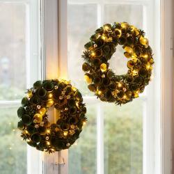 Sirius Alice LED věnec, zelený/zlatý, Ø 30 cm