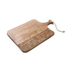 OMBAK Dřevěné krájecí prkénko s dřevořezbou velké