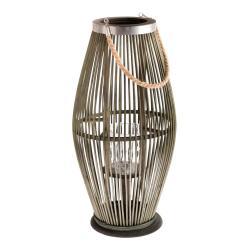 Zelená skleněná s bambusovou konstrukcí Dakls, výška 59 cm