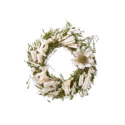 FLOWER MARKET Mini věnec ze sušených květin 12 cm - bílá