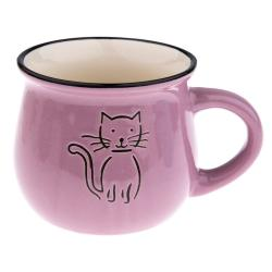 Fialový keramický hrneček s obrázkem kočky Dakls, objem 0,3 l