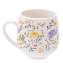 Bílý porcelánový hrneček se žlutým květinovým motivem Dakls, objem 0,5 l
