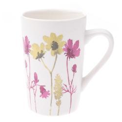 Bílý porcelánový hrneček s barevným květinovým motivem Dakls, 0,4 l