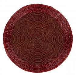 Prostírání z korálků červená, 30 cm, sada 4 ks