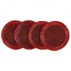 Prostírání z korálků červená, 10,5 cm, sada 4 ks