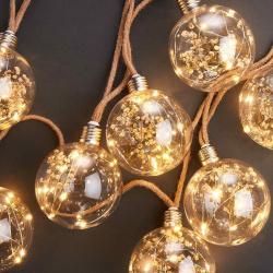 BULB LIGHTS Světelný řetěz se sušenými květinami 8 světel