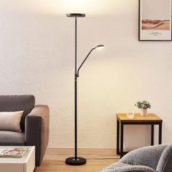 Lindby Lindby Sumani LED stojací lampa, kulatá, černá