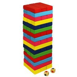 Wood Toys Dřevěná věž Jenga, barevná