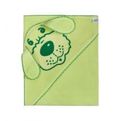 New Baby Osuška s kapuckou Pejsek zelená, 100 x 100 cm