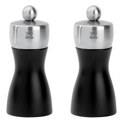 Set mlýnků na pepř a sůl FIDJI černá matná/nerez 12 cm Peugeot