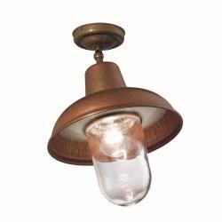 Il Fanale 243.03.ORT Contrada, stropní stropní svítidlo z mosazi, mědi a čirého skla, 1xE27 max 57W, průměr 22,5cm
