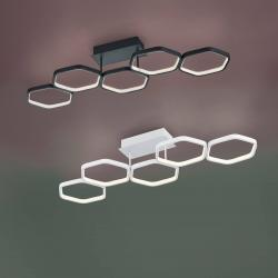 Reality Leuchten LED stropní světlo Vigo, bílé, stmívač, 5 kruhů