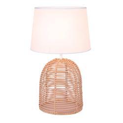 Viokef Stolní lampa Marion z ratanu a textilu, Ø 30 cm