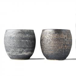 Set hrnků na saké Sho-chu stříbrá a bronzová 2 ks MIJ