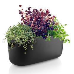 Samozavlažovací keramický květináč černý Eva Solo