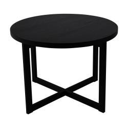 Černý konferenční stolek z dubového dřeva Canett Elliot, ø 70 cm
